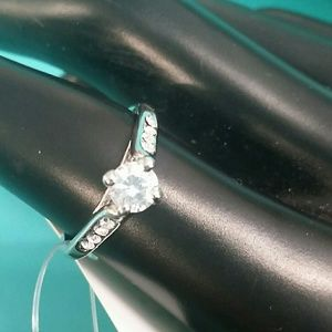 Silver tone engagement ring size 8